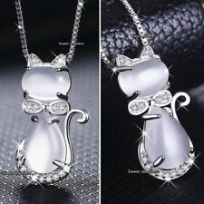 NEW 925 Silver Moonstone Cat/Fox Animal Pendant Necklace Xmas Gift For Her Women