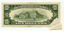 1981A $10 FRN with Butterfly Fold Over Error, VF/EF, ink writing
