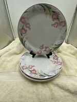 Lynns Fine China  White & Floral (set of 4) Stoneware Dinner Plates Pink Tulips