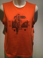 Lee Denim 'All Expenses Paid' Orange Graphic Tank Top Size 12 Fit 10 12
