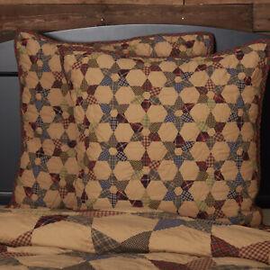 VHC Brands Primitive Euro Sham Tan Patchwork Tea Star Cotton Hand Bedroom Decor