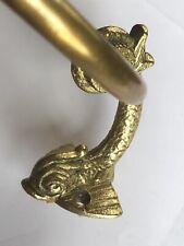 Vintage / Antique Solid Brass Fish Towel Ring Unique! Excellent!