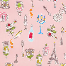 Cotton Fabric by FQ Paris Eiffel Circus Cat Rose Floral Gift Cake Mannequin VK59