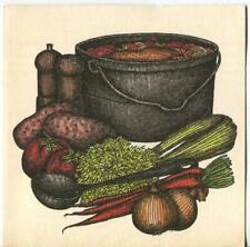 VINTAGE COOKING POT GARDEN HEARTY VEGETABLE SOUP S & P RECIPE ART PRINT ON CARD