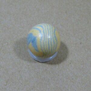 """Blue and Orange Lined Crockery Marble; Handmade Glazed Stoneware 0.7"""""""