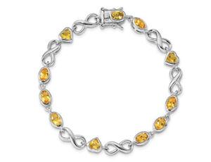 Sterling Silver Heart Citrine Bracelet (4.5 Carat (ctw))