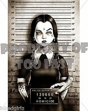 "WEDNESDAY ADAMS FAMILY MUGSHOT POSTER 11"" X 17"" TATTOO ART PRINT by MARCUS JONES"