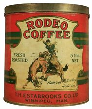 RODEO COFFEE RIDE IM COWBOY ON HORSE HEAVY DUTY USA MADE METAL ADVERTISING SIGN