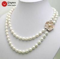 6-7mm Rice White Natural Freshwater Pearl Necklace for Women 2 Strand Choker 17""