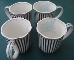 Grace's Teaware 4 Black Stripe Mugs - Josephine