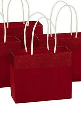 "Pack of 6 - NEW Hallmark 5"" Small Christmas Gift Bags, Red Foil"