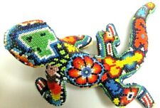 Huichol Hand Beaded Iguana Mexican Indigenous Folk Art Glass Beads on Clay