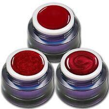 Premium Gel Set Red Stars je 5ml ein Farb - Glitter - Metallic UV-Gel Rot