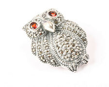 Sterling Silver and Marcasite Owl with Garnet Eyes