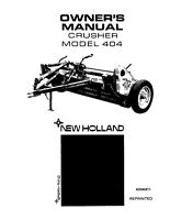 NEW HOLLAND 404 Crusher Hay Conditioner OPERATORS MANUAL