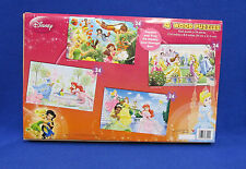 Disney Set Of 4 Wooden Puzzles & Tray In Wood Storage Box Movie Princesses