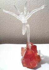 "fairy on rock figurine 8"" tall hand blown glass Beautiful Angel, Rare"