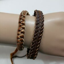 Women Bracelet Brown Braided Adjustable Boho Lot of 2