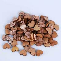 Wood Love Heart Handmade Holes Wooden Buttons Sewing Scrapbooking DIY DD