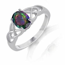 Infinity Celtic Oval Cut Rainbow Mystic Rainbow Topaz Sterling Silver Ring