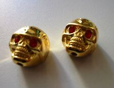 NEW 2 KNOBS METAL SKULL gold - bouton pour guitare