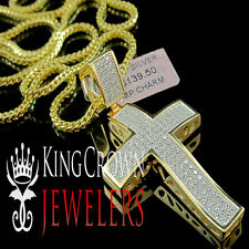 STERLING SILVER 14K YELLOW GOLD FINISH LAB DIAMOND JESUS CROSS PENDENT CHARM
