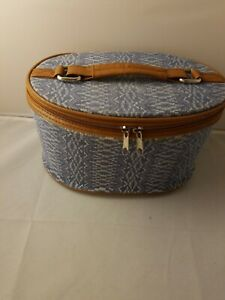 Blue and Brown Carryon Train Case Cosmetic Carrying Case