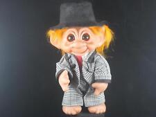 "8"" 1977 Dam Executive Troll Orange Hair Black & White Checked Suit & Hat u621"