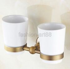 Antique Brass Bathroom Wall Mounted Toothbrush Holder Double Ceramic Cup Fba145