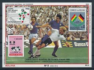 [106016] Bolivia 1989 World cup soccer Italia 1990 IT-GER Souvenir Sheet MNH