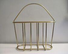 Vintage Wire Magazine Holder Rack Lp Record Brass Gold Metal Midcentury Modern