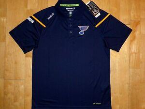 NEW w TAG Mens NHL ST LOUIS BLUES Hockey CENTER ICE Medium M PLAY DRY Polo Shirt