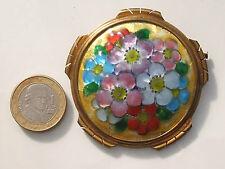 BELLE et GRANDE BROCHE LIMOGES ANCIENNE émail florale signée VERGNOLLE / 5,7cm !