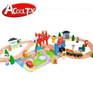 Wooden Train Set - My busy town (80 pieces) Standard Tracks, Upgradable (AC7506)