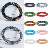 Boho Natural Crystal Beaded Bracelet Elastic Wristband Bangle Women Men Jewelry