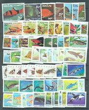 Fish, includes sharks and Whales 9 complete sets (60 stamps) all MNH