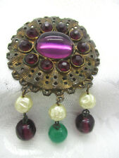 VINTAGE ESTATE OLD PURPLE GLASS CABOCHON FACETED RHINESTONE PIN BROOCH UNMARKED