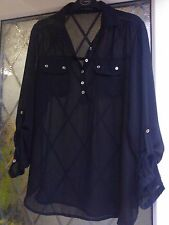 LONG SHEER BLACK  LOOSE FITTING TOP, SIZE 8 **VGC**