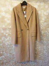 Topshop Camel Double Button Longline Winter Coat Size 14 New With Tags
