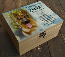 Personalised wooden box, memorial casket urn for cremation ashes German shepherd