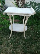 Vintage Distress White Hard Wood  Table  With Carved Design