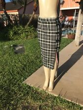 ZANG TOI CASHMERE PLAID BELTED DETAILS LONG SKIRT Sz 2 NWT $3300 MADE IN NY USA