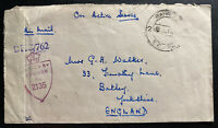 1945 RAF Base In India OAS Censored Airmail Cover To Batley England