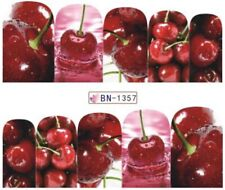 Nail Art Stickers Water Decals Transfers Juicy Cherry Cherries (BN1357)