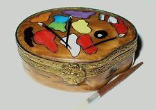 Limoges France Box - Artist'S Paint Palette & Brushes - Removable Wooden Brush
