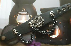 Harley-Davidson style biker real leather black bracelet - Unisex uk seller 🇬🇧