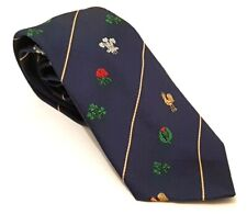 5 NATIONS Rugby Club Tie Blue Polyester Vintage T45