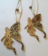 Christmas Fairy Wooden Hanging Decoration Gold Handmade