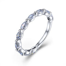 14K White Gold Fine Jewelry 0.7ct Moissanite White Marquise Cut 4x2mm Band Ring
