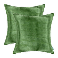 2Pcs Cushion Covers Pillow Shell Forest Green Corduroy Corn Striped Sofa 66x66cm